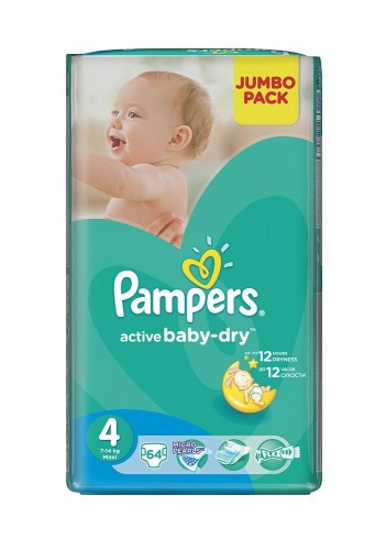 Pampers active baby 4, 64 kom